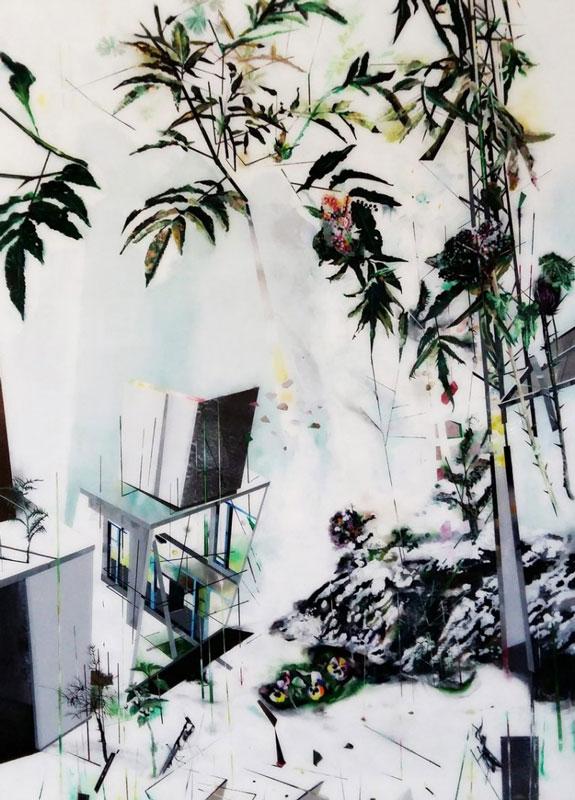 Muriel Rodolosse | Laboratoire de l'extérieur / 2016 / Pittura su Plexiglas sul retro / 190x140cm
