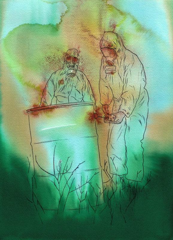 Sasha Vinci | La terra dei fiori (Campania Felix) / 2017 / Inchiostri naturali e sintetici su carta cotone / 38x28 cm