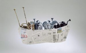 Isabella Pers | Nohas' Ark / 2000 / Installation / Newspapers, cardboard, watering cans, paint / variable size